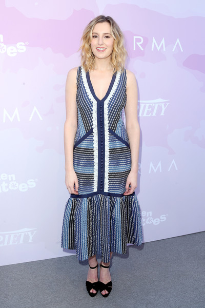 Laura Carmichael attended Variety's brunch for awards nominees looking summer-chic in a sleeveless striped dress by Erdem.