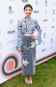 Ruth Negga paired her blouse with a silver sequin skirt, also by Erdem.