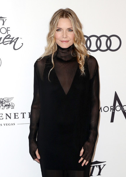 More Pics of Michelle Pfeiffer Over the Knee Boots (3 of 7) - Boots Lookbook - StyleBistro [clothing,little black dress,fashion,neck,hairstyle,outerwear,shoulder,long hair,dress,carpet,michelle pfeiffer,arrivals,variety,power of women,los angeles,beverly hills,california,beverly wilshire four seasons hotel]