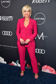 Bebe Rexha was Business Barbie in this fuchsia Givenchy pantsuit at the Variety Power of Women Los Angeles event.