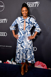 Tiffany Haddish was tropical-chic in a leaf-print dress with a keyhole cutout at Variety's Power of Women Los Angeles event.
