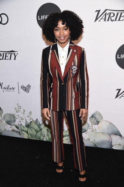 Yara Shahidi opted for a striped pantsuit by Tory Burch when she attended Variety's Power of Women: New York.