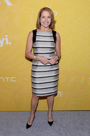 Katie Couric attended the Variety Power of Women event looking smart in a tricolor striped dress.
