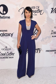 Constance Zimmer worked a '70s vibe in a flared indigo jumpsuit during the Variety Power of Women event.