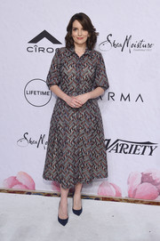 Tina Fey opted for a geometric-print shirtdress by Gabriela Hearst when she attended Variety's Power of Women: New York.