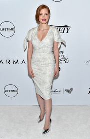 Jessica Chastain kept it ladylike at the Variety Power of Women event in a Carolina Herrera LWD with tonal embroidery and knotted sleeves.