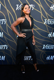 Gabrielle Douglas looked sassy in a structured black jumpsuit with a plunging neckline and a bedazzled belt at the Variety Power of Young Hollywood event.