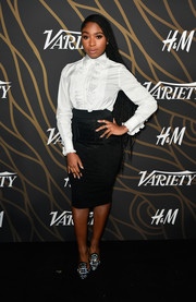 Normani Kordei wore a crisp white ruffle button-down at the Variety Power of Young Hollywood event.