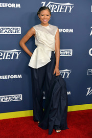 Storm Reid looked simply elegant in a white half-peplum top by Nina Ricci at the Variety Power of Young Hollywood event.