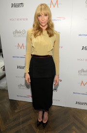 Toni Collette looked conservative yet stylish in a tan blouse and a black pencil skirt when she visited the Variety Studio.