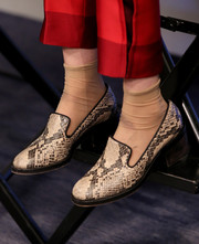 Sophie Kennedy Clark visited the Variety Studio wearing a pair of snakeskin slip-on shoes.