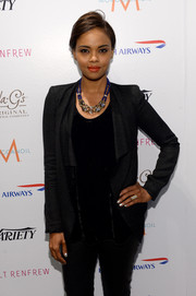 Sharon Leal visited the Variety Studio looking ultra chic in a draped gray blazer.