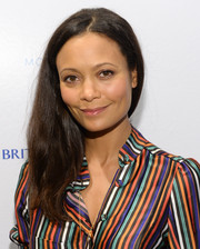 Thandie Newton kept the styling minimal with this straight center-parted 'do during her visit to the Variety Studio.