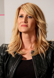 Laura Dern looked chic wearing a modernized feathered flip at the Variety Studio.