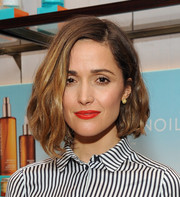 Rose Byrne's red, red lips looked striking against her monochrome outfit.