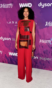 Tracee Ellis Ross looked like a work of art in a red Chalayan jumpsuit with a sequined front during the StyleMakers Awards.