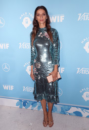 Angela Sarafyan went for high shine in a blue sequin dress by Elisabetta Franchi at the Variety and Women in Film pre-Emmy celebration.