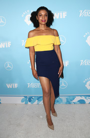 Susan Kelechi Watson continued the flirty vibe with a navy side-mullet skirt.
