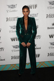 Shay Mitchell looked sharp in an emerald velvet pantsuit by Zuhair Murad at the Variety and Women in Film pre-Emmy celebration.