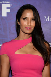 Padma Lakshmi wore her hair down with a deep side part when she attended the Variety and Women in Film Emmy nominee celebration.