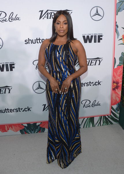 Niecy Nash made a fabulous choice with this tricolor sequin gown by Lucy Wang for the Variety and Women in Film pre-Emmy celebration.