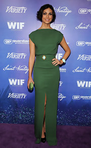 Morena looked refined in her olive green gown with a thigh-high slit.