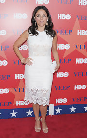 Julia Louis-Dreyfus paired chic ivory sandals with her lacy white dress for the NYC screening of 'Veep.'