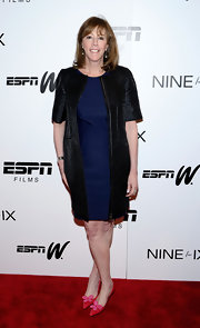 Jane Rosenthal wore a long black leather coat while at the 'Venus Vs.' and 'Coach' screenings.