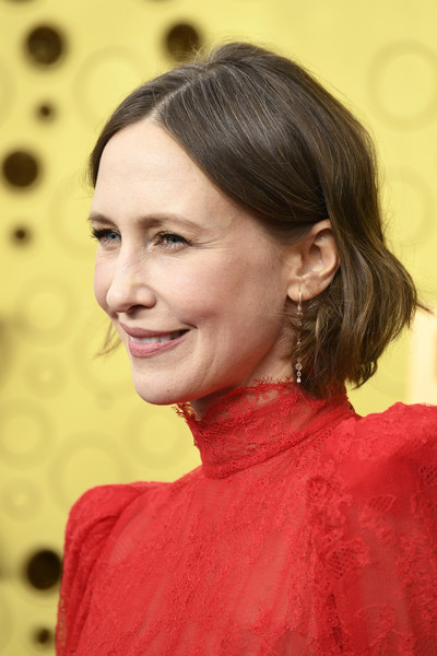 Vera Farmiga Short Wavy Cut [hair,hairstyle,chin,eyebrow,forehead,bun,long hair,chignon,brown hair,makeover,arrivals,vera farmiga,emmy awards,microsoft theater,los angeles,california]