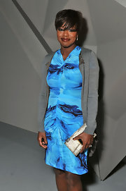 Viola Davis wore this lovely aqua dress to Vera Wang's fashion show.