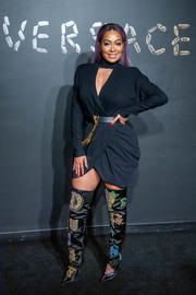 La La Anthony punched up her plain dress with a pair of embroidered thigh-high boots.