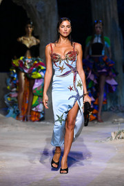 Irina Shayk looked fab in a starfish-beaded slip dress while walking the Versace Spring 2021 show.