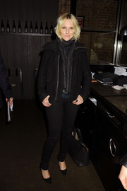 Laura Brown attended the Haas Brothers for Versace dinner looking moto-chic in a black zip-up jacket.