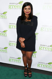 Mindy Kaling chose a long-sleeve LBD with a polka-dot mesh neckline for her chic look at the Verte Grades Fundraising.