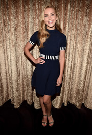 Jessica Rothe attended the Viacom TCA Summer event wearing a navy fit-and-flare mini dress with stripe accents.