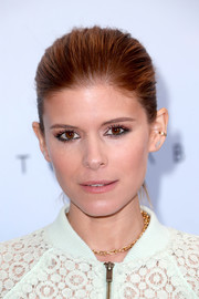 Kate Mara swept her hair back into a simple ponytail for the Victoria Beckham for Target launch.