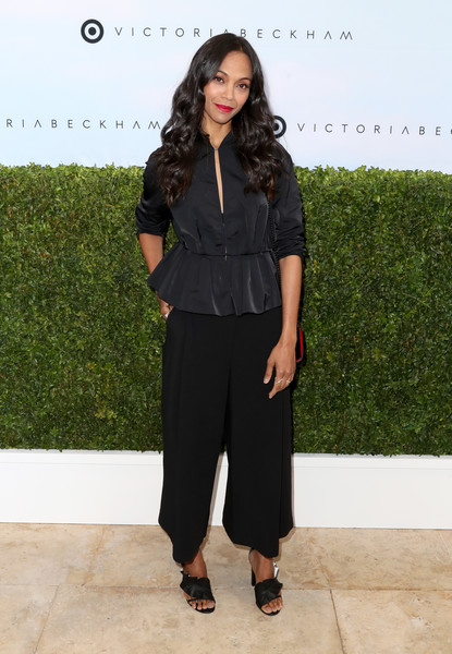 Zoe Saldana injected an ultra-girly touch with a pair of black ruffle sandals by Mercedes Castillo.
