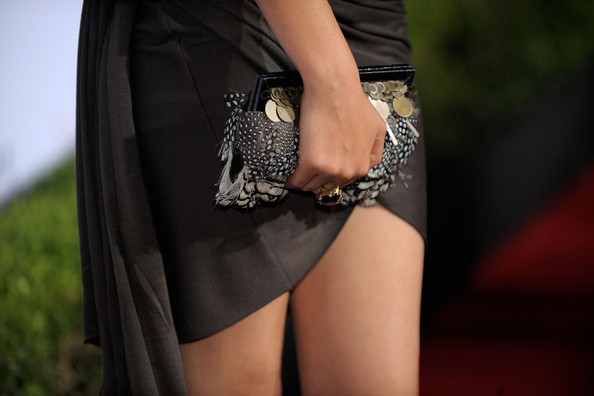 Victoria Justice Feathered Clutch