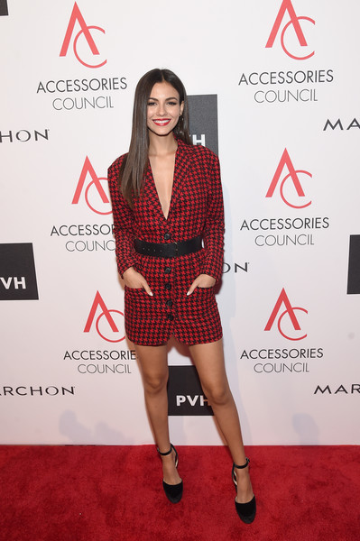 Victoria Justice Tuxedo Dress [clothing,red carpet,carpet,dress,cocktail dress,fashion model,fashion,premiere,shoulder,footwear,victoria justice,annual ace awards,ace awards,new york city,cipriani 42nd street,accessories council,celebration]