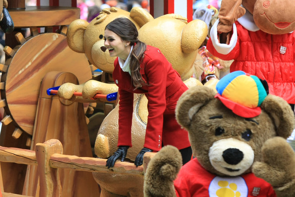 Victoria Justice Loose Ponytail [stuffed toy,teddy bear,toy,fun,mascot,plush,happy,animation,animated cartoon,vacation,victoria justice,the build-a-bear float,broadway,new york city,nickelodeon,macys thanksgiving day parade]