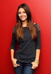 Victoria Justice visited FOX & Friends wearing a gray boatneck top with beaded shoulder detailing.