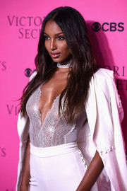 Jasmine Tookes sizzled in a sheer silver top with a plunging neckline at the 2017 Victoria's Secret fashion show viewing party.