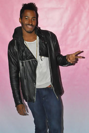 DJ Ruckus chose a classic black leather jacket for his rocker look at the PINK event in Kentucky.