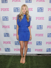 Elsa Hosk wore a mini dress in a very on trend color--cobalt.