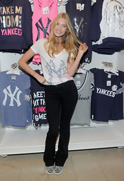 A faded print Yankees V-neck was a cute and sporty look for the Pink collection launch in NYC.