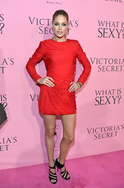 Doutzen Kroes wore sexy strappy sandals featuring bold ankle straps for the Victoria's Secret What Is Sexy? party.