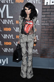 Stacey Bendet channeled the '70s in a black-and-white swirl-print pantsuit at the New York premiere of 'Vinyl.'