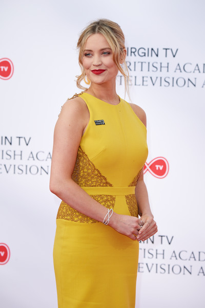 More Pics of Laura Whitmore Diamond Bracelet (1 of 7) - Bracelets Lookbook - StyleBistro [yellow,clothing,dress,cocktail dress,red,shoulder,fashion model,carpet,fashion,red carpet,red carpet arrivals,laura whitmore,england,london,the royal festival hall,virgin tv,bafta television awards]