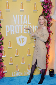 Erin Foster looked stylish in a nude off-the-shoulder midi dress at the Vital Proteins Collagen Water launch.