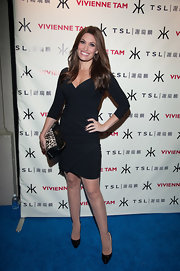 Kimberly Guilfoyle showed off her fit physique in a sophisticated body-con LBD at the Vivienne Tam after-party.